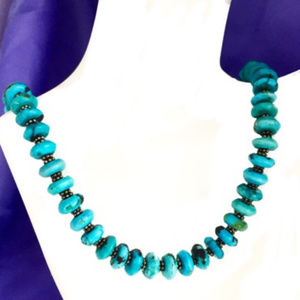 """22"""" STERLING SILVER AND TURQUOISE RONDEL NECKLACE"""